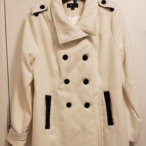 BCX White/Black Pea Coat